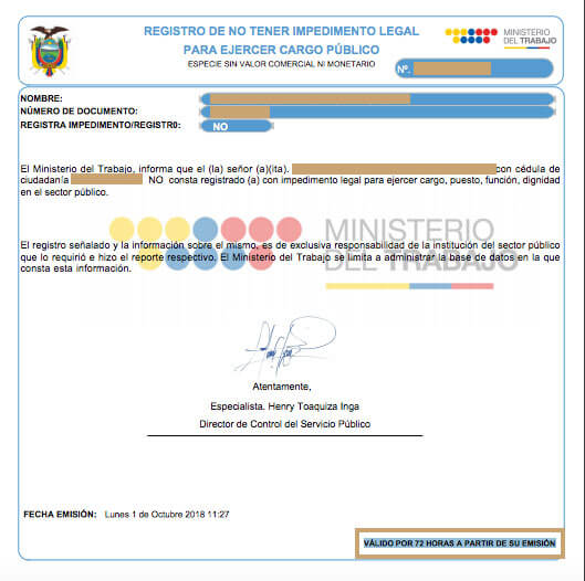 certificado de no tener impedimento ejercer cargo publico