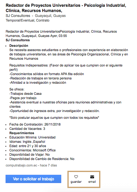 Requisitos empleo jora