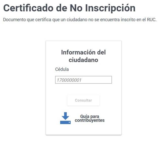 Certificado de No Inscripción en el RUC SRI