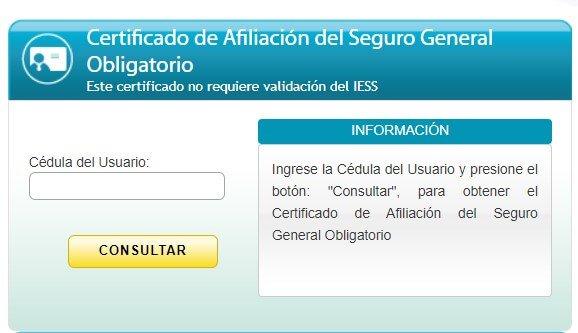 Certificado de afiliación al seguro social IESS